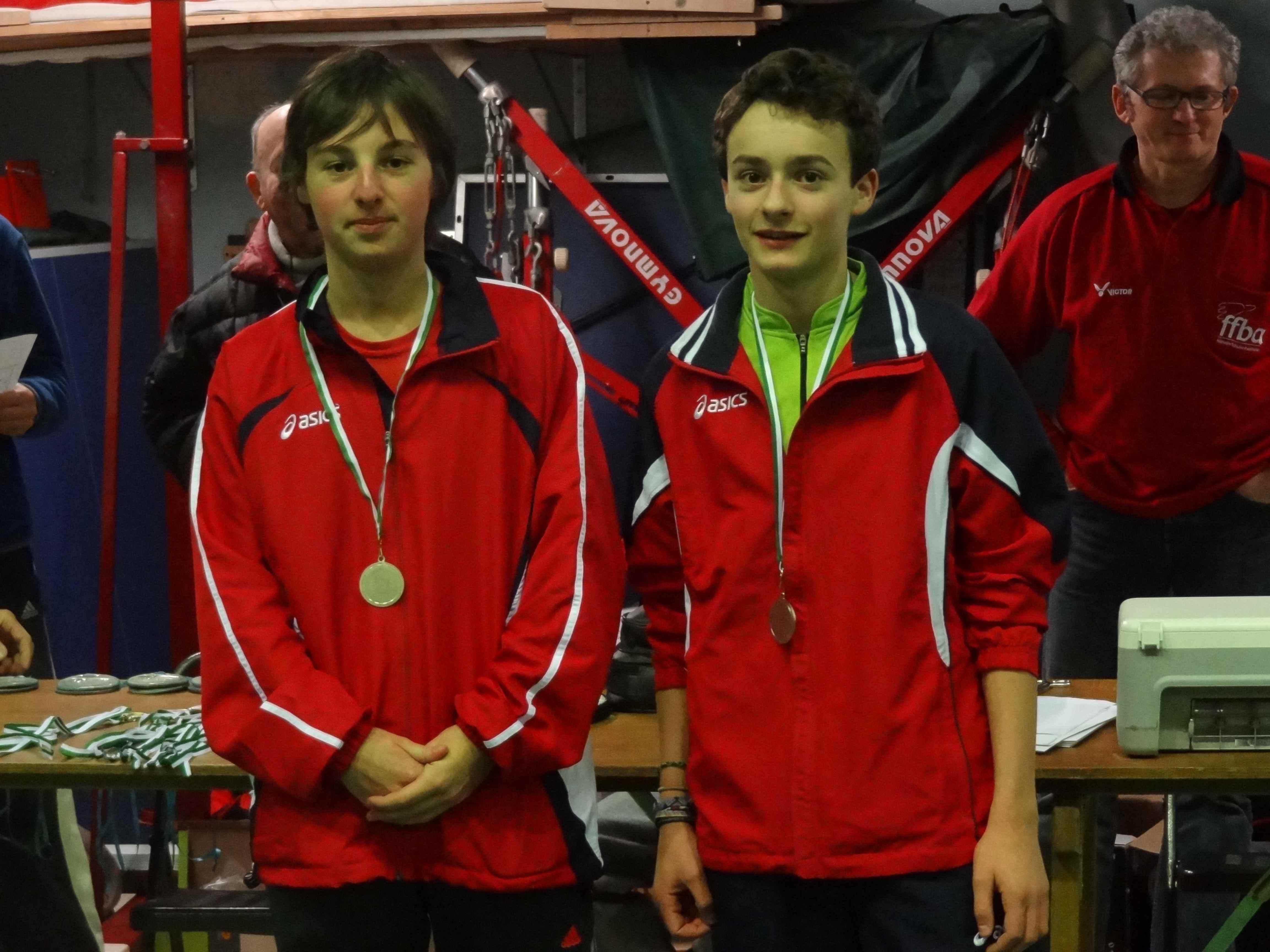 Vice-champions de l\'Yonne en Double Hommes Minimes 2012-2013